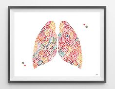 Human Lungs watercolor print the lungs poster medical art