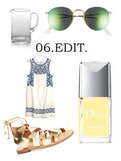 June wish list | Ray-Ban round sunglasses, Dior Sunwashed, a Madewell sundress, gold Topshop gladiators + a Crate & Barrel pitcher