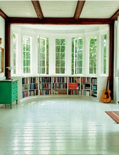 rounded windows with built in bookshelves | Purple Area: Fönstermagi
