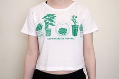 I Like Plants Better Than People Crop Top by SusiApparel on Etsy