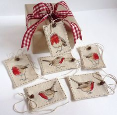 Robin gift tags Cross stitch see pattern with other pins Cross Stitch Bird, Cross Stitch Animals, Modern Cross Stitch, Cross Stitch Charts, Cross Stitch Designs, Cross Stitching, Cross Stitch Patterns, Christmas Sewing, Christmas Embroidery