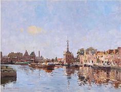 "Edward Seago, Bend in the Canal, Alkmaar, oil on canvas, 20"" x 26"" POA"