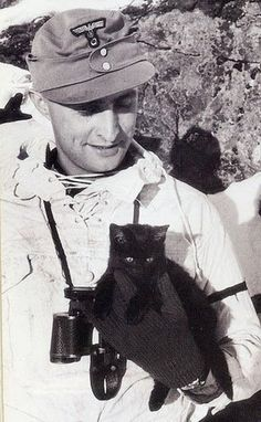 Little black cat with a WWII German soldier.