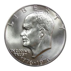 - One (1) 40% silver Eisenhower dollar from 1976 - Specs: .400 fine silver, 38mm, 25g, San Francisco mint ( - Special design struck to commemorate our nation's bicentennial - Mint State condition - no