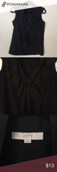 Loft sheer blouse Loft sheer black blouse with ruffled collar and adjustable bow neck. LOFT Tops Blouses
