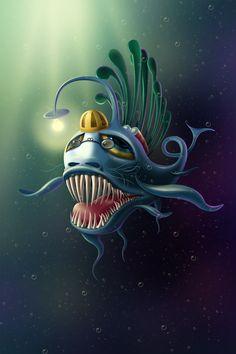 Underwater fish by Alex Martinov, via Behance