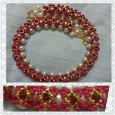 Floral Pink Golden Beaded Necklace.  Hello friends....This necklace is actually  inspired from floral design.It has a feminine romantic way of styling that looks comfortable.In this tutorial i have used Pearls,Dark pink seed bead,Golden Bead,Maroon Crystals,Jump Rings &Fish lock.Please do make 1 for yourself...