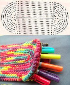 """.Schéma ou diagramme pour crochet modèle """"petite trousse pour crayon"""" mais se schéma peux s'appliquer à d'autres choses"""