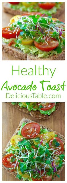 Healthy Avocado Toast is a tasty clean eating recipe that can work as a breakfast, snack, or even dinner. With artisan bread, creamy avocado, sweet heirloom tomatoes, lemon olive oil drizzle, sriracha salt, crushed hemp seeds, and microgreens. /Healthy Vegan Recipes/#cleaneatingrecipes #healthyrecipes #healthybreakfast #healthybreakfastrecipes #healthybreakfastideas #veganrecipes #vegetarianrecipes #cleaneatingideas #cleaneatingsnacks #avocado via @www.pinterest.com/delicioustable