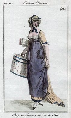 I am so confused about this dress. The purple looks to be an apron. but the bodice is white? Is the gold with borders just an open robe? If so, why do we see gold skirt at the front hem? 1800s Fashion, 19th Century Fashion, Vintage Fashion, Jane Austen, Regency Dress, Regency Era, Historical Costume, Historical Clothing, Jean Délavé