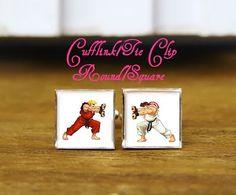 custom street fighter cufflinks & tie clip, custom wedding square cufflinks, Ryu and Ken Cufflinks, arcade game cufflinks, game logo jewelry