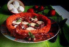 Frittomisto: cucina ed emozioni: Pizza di riso con mozzarella, olive, pomodori secc...