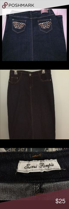 Sexsi pompis long jean skirt. Sexsi pompis long jean skirt. Dark denim wash with embellished back pockets. Slim fit with a comfy stretch. Runs very small to size. Size 13. sexsi pompis Skirts Midi