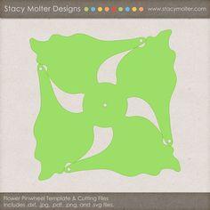 Free Flower Pinwheel Craft Template Cutting Files