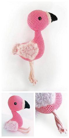 Amigurumi Flamingo Free Pattern - Amigurumi Daily Crochet Flamingo, Crochet Elephant Pattern, Crochet Patterns Amigurumi, Free Crochet, Knit Crochet, Crochet Hats, Crochet Projects, Crochet Ideas, Crochet Animals