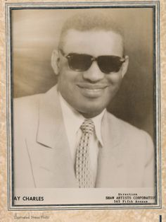 Rare, early (c 1954) portrait of Ray Charles, for Shaw Artists.