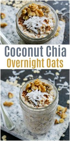 Coconut Chia Overnight Oats overnight oats in a mason jar masonjar overnightoats breakfast easyrecipe Overnight Oats Almond Milk, Low Calorie Overnight Oats, Dairy Free Overnight Oats, Pumpkin Overnight Oats, Overnight Oats In A Jar, Chocolate Overnight Oats, Overnight Chia Pudding, Coconut Chia Pudding, Oats Recipes