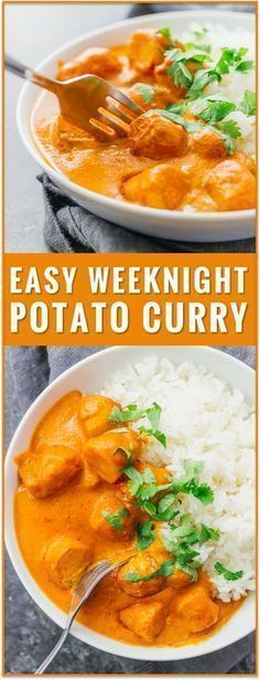 This easy vegetarian potato curry has a delicious orange sauce similar to an Indian tikka masala sauce. vegetarian chicken tikka masala recipe, dinner, fast, easy, recipe, dum aloo, vegan, indian, meals, sweet, chickpea, lentil, soup, thai, coconut #indianvegetarianrecipes