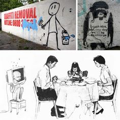 Some of the many works of prolific street artist Banksy in the media of graffiti, stencils, and drawings. Banksy Graffiti, Street Art Banksy, Bansky, Graffiti Wall Art, Banksy Artwork, Daemon Black, Dorm Posters, Paper Drawing, Heart Art
