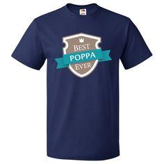 Best Poppa Ever T-Shirt Navy Blue $19.99 www.personalizedfamilytshirts.com