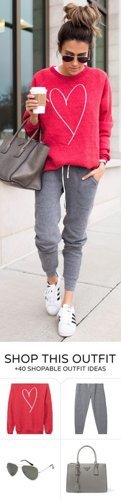 #spring #fashion /  Red Heart Print Sweater / Grey Pants / White Adidas Sneakers