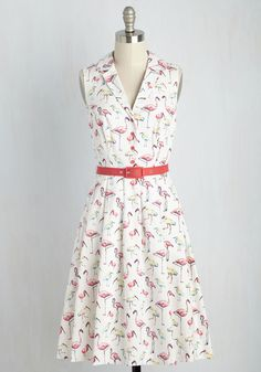 It's an Inspired Taste Dress in Birds. While some styles have to earn their admiration, this belted shirt dress is an instantaneous favorite. #multi #modcloth