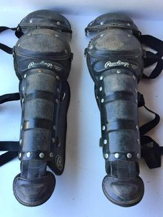 Rawlings 9DCW CATCHERS  SHIN GUARDS AGES 7/9 GOOD CONDITION BASEBALL YOUTH~sku44 #RAWLINGS