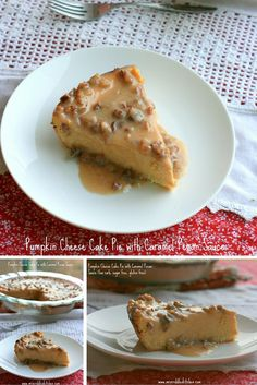 A Pumpkin Cheese Cake Pie with Caramel Pecan Sauce just in time for Fall.  This pie will help you keep your trim! THM S!