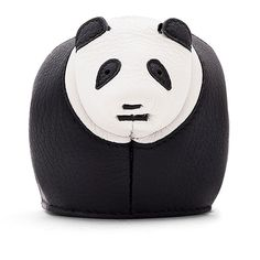 Loewe Leather Panda Coin Purse (9.098.625 VND) ❤ liked on Polyvore featuring bags, wallets, loewe wallet, panda bag, coin pouch wallet, change purse and black and white wallet