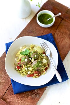 This Lamb Meatballs & Mint Pesto Linguine recipe is the perfect recipe to share between two for date night.