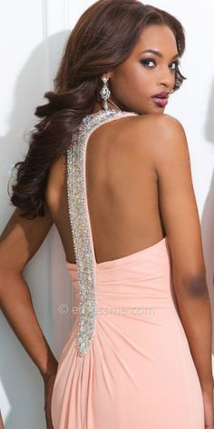 Rhinestone and Gem Embellished T Strap Open Back Prom Dresses by Tony Bowls Paris-image