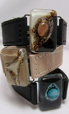 Leather Bracelet with fused Glass 1 wide Black  by CarliBruno, $42.00