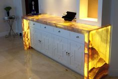 LED Panel Light - Backlit Onyx Counter. Wouldn't it be cool to have a backlit yellow brick road? Onyx would be too soft, but somebody should find the right material.