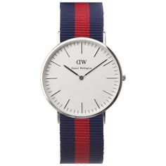Classic Oxford watch in silver with navy and red nato strap for Nixon. Available at Dezeenwatchstore.com #watches
