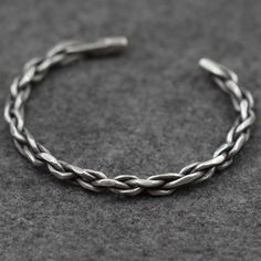 Men's Sterling Silver Braided Cuff Bracelet #men'sjewelry