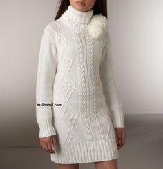 Вязаное платье-свитер с нежными аранами - СХЕМЫ http://mslanavi.com/2017/03/vyazanoe-plate-sviter-s-nezhnymi-aranami/