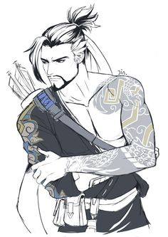 Hanzo: *subtle archer swag* McCree: *drooling*<<<Same Mccree Overwatch Hanzo, Overwatch Comic, Overwatch Fan Art, King's Quest, Character Inspiration, Character Art, Genji And Hanzo, Hanzo Shimada, Japon Illustration