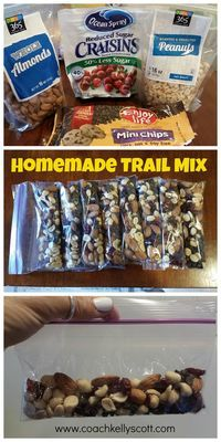This homemade trail mix is so easy to make and 21 Day Fix approved!! 1 blue and 1 orange container. I cut out a yellow for the day since I added chocolate chips and dried fruit to this mixture. Click on the post to get the recipe (and 4 other bonus ones) emailed to you!