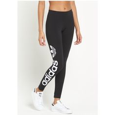 Adidas Originals Originals Linear Leggings ($34) ❤ liked on Polyvore featuring pants, leggings, adidas originals, white pants, white leggings, white trousers and legging pants