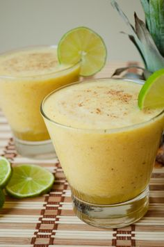 Spiced Pineapple Juice  Ingredients:    1 whole pineapple, cubed  1 small knob of ginger, peeled  1 whole freshly squeezed lime juice  1 cup of ice  1/2 cup cold water  1 tsp spice mix; cloves, nutmeg, cardamom & cinnamon  a pinch of sea salt & pepper