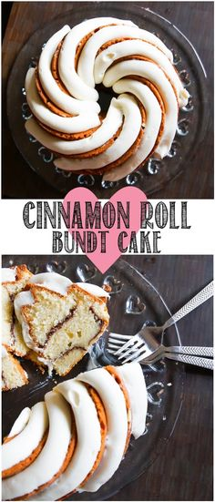 Cinnamon Roll Bundt Cake with a thick, vanilla bean-cream cheese frosting. | from @bakeat350