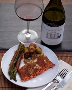 Smoked Salmon (cooked on a Traeger smoker) and Elizabeth Chambers Cellar 2011 Winemaker's Cuvée Pinot Noir. A great food and wine pairing!