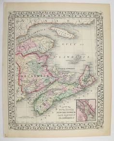 Antique Nova Scotia Map Vintage New Brunswick Map Cape Breton Canada Old 1871 Mitchell Unique Gift Under 100 Gift for Home Office Wedding by OldMapsandPrints