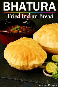 Bhatura is a deep fried puffed bread made with flour salt and a leavening agent. This recipe will teach you to make the best bhaturas at home. Indian Snacks, Indian Food Recipes, Asian Recipes, Beef Recipes, Snack Recipes, Cooking Recipes, Puri Recipes, Cooking Tips, Bhatura Recipe