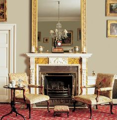 Stately Georgian sitting room with Green Earth- Heritage Authentic Colours