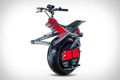 Ryno Microcycle has only one wheel. You control the Ryno's electric motors by leaning forward to accelerate and back to slow down. With a range of 10 miles — and a top speed of 10 mph — it's ready to get you around the urban landscape, whether it's on the road, on the sidewalk, or even in the office.