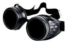 1 Pair of Plain Black Frame / Black Lens Goggles. These are a wonderful design of Welder Goggles. Disc design can be removed for your own creation. Adjustable elastic band - One size fits Most. Androg