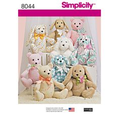 These cozy stuffed animals are sure to be a favorite. Animals consist of two pattern pieces, and include bear, dog and rabbit. Simplicity sewing pattern.