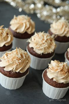 """Filled German Chocolate Cupcakes with Caramel Buttercream. (I'd """"easy up"""" the recipe by using cake mix, coconut pecan filling & add caramel to some canned buttercream frosting. German Chocolate Cupcakes, Homemade Chocolate, Chocolate Recipes, Baking Cupcakes, Yummy Cupcakes, Cupcake Cookies, Coffe Cupcakes, Filled Cupcakes, Cupcake Flavors"""