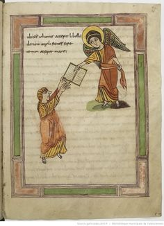 Apocalypse figurée. Words from Heaven. Angel passes a booklet to John. Apocalypse, 9th century. Valenciennes BM99, 21r (Revelation 1:1)